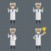 Old scientist holds different objects — Stock Vector