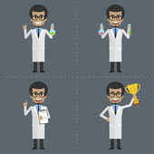 Adult scientist holds different objects — Stock Vector