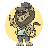 Stylish lion showing thumbs up — Stok Vektör