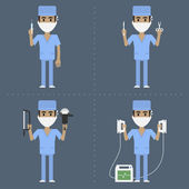 Surgeon holds medical supplies in various poses — Stok Vektör