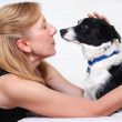Woman with dog, Border Collie - Stock Photo