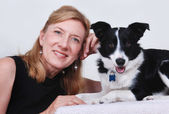 Woman with dog, Border Collie — Stock Photo
