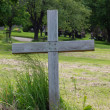 Single wood cross in a cemetery — Stock Photo