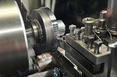 Metalworking on lathe — Stock Photo