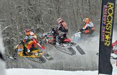 Snowcross international championship quebec canada race racer racetrack snowmobile snow white winter jump cloudy competition rockstar (12) — Stock Photo