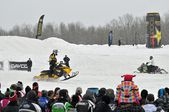 Snowcross international championship quebec canada race racer racetrack snowmobile snow white winter jump cloudy competition rockstar (16) — Stock Photo