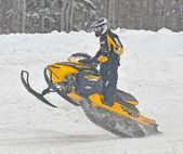 Snowcross international championship quebec canada race racer racetrack snowmobile snow white winter jump cloudy competition rockstar (15) — Stock Photo