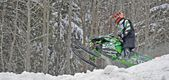 Snowcross international championship quebec canada race racer racetrack snowmobile snow white winter jump cloudy competition rockstar (14) — Stock Photo