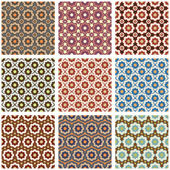 Seamless retro patterns set — Stock Vector