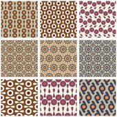 Set of seamless retro patterns — Stock Vector