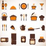 Vector kitchen icons set — Stock Vector