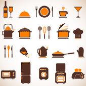 Jeu d'icônes vectorielles en cuisine — Vecteur