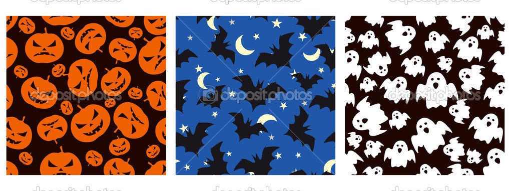 Halloween seamless patterns — Stock Vector #13888087