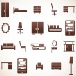 Furniture icons set - Stockvektor