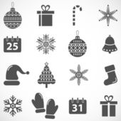 Christmas and New Year vector icon set — Stock Vector