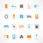 Furniture stickers icons — Stock Vector