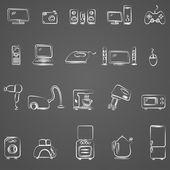 Electrodomésticos, dibujo de conjunto de iconos — Vector de stock