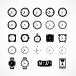 Clocks icons. Vector illustration — Stock Vector
