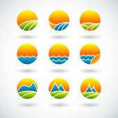 Landscape icons — Stock Vector