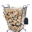 Firewood metal stand — Stock Photo