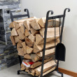 Firewood on metal stand — Stock Photo