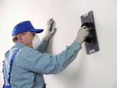 Wall finishing work — Stock Photo