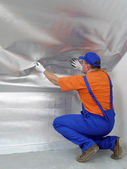 Thermal insulation work — 图库照片