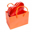 Red heart in paper bag — Stock Photo