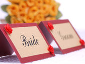 Bride and groom namecards — Stock Photo