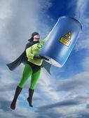 Eco superhero and hazardous waste — Stock Photo