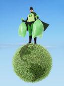 Eco superhero and garbage free planet — Stock Photo