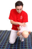Infant suffocation rescue demonstration — Stock Photo