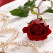 Stock Photo: Red rose and pearls