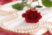 Red rose and pearls — Stock fotografie
