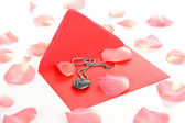 Pearl heart and pink rose petals — Stockfoto