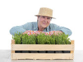 Senior gardener with box of aspic — Stock Photo
