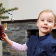 Christmas tree decorating — Stock Photo