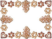 Christmas gingerbread cookie frame — Stock Photo