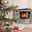 Stock Photo: Christmas tree by fireplace