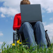 Handicapped woman with laptop — Stock Photo
