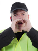 Policeman calling out — Stock Photo