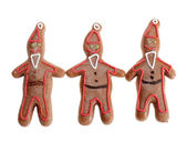 Three gingerbread santa clause cookie figures — Stock Photo