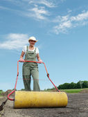 Gardener and roller — Stock Photo