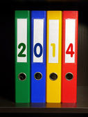 Four binders with 2014 digits — Stock Photo