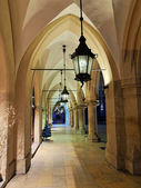 Gothic arcades by night — Stock Photo