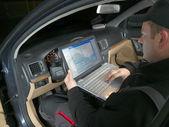 Car VIN inspection — 图库照片