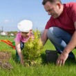 Dad and daughter gardening — Stock Photo