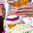Wedding of Cultural Thailand on during give holy water that pare — Stock Photo #22986176