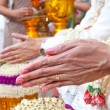 Stock Photo: Wedding of Cultural Thailand on during give holy water that pare