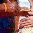 Wedding of Cultural Thailand on during give holy water that pare — Stock Photo #22986390